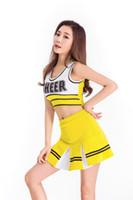 ingrosso alta scuola sexy-Vestito sexy giallo della ragazza della cheerleader del costume della cheerleader delle ragazze uniformi del vestito operato dal partito