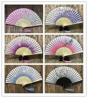 Wholesale chinese new gifts online - Chinese Japanese Folding Fan Sakura Cherry Blossom Pocket Hand Fan Summer Art Craft Gift