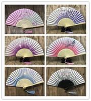 fãs de mão japoneses venda por atacado-Ventilador de dobramento japonês chinês Sakura Flor de Cerejeira Ventilador de Mão de Bolso Verão Arte Artesanato Presente