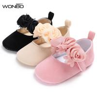 bebekler için düşmüş ayakkabılar toptan satış-Yeni sonbahar çiçek tarzı pamuk farbic bebek mokasen ayakkabı bebek kız prenses elbise ayakkabı mary jane sevimli 0-18 M