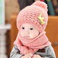 Wholesale cashmere baby crochet hats for sale - Baby Hat Caps Scarf Set Children Baby Crown Winter Warm Knit Caps Scarf Autumn Winter Warm Earmuffs Crown Caps Hats