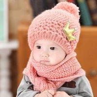 bebek örme taç toptan satış-Bebek Şapka Eşarp Set Çocuk Bebek Taç Kış Sıcak Örgü Kapaklar Eşarp Sonbahar Kış Sıcak Earmuffs Taç Caps Şapkalar