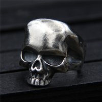 Wholesale sterling silver skull rings - 925 sterling silver ring vintage Thai silver skull ring men's personality original designer ring hip hop jewelry china goods adjustable