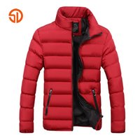 черные парки для мужчин оптовых-Fashion Men Autumn Winter Jackets Mens Plus Size XXXXL Casual Male Parka Jacket Coat Black Blue Red 6 Colors M-4XL