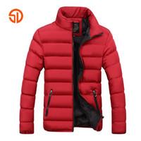 parka jacke herren schwarz großhandel-Mode Männer Herbst Winter Jacken Herren Plus Größe XXXXL Beiläufige Männliche Parka Jacke Mantel Schwarz Blau Rot 6 Farben M-4XL
