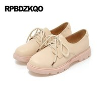 Wholesale Cheap Beautiful Shoes - Pink Oxfords Flats Platform Ladies Beautiful Shoes Round Toe Candy Cheap 2017 Slip Resistant Lace Up Women Drop Shipping