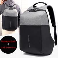laptop taschen 17,3 zoll großhandel-15 15,6 17 17,3 Zoll mit USB-Schnittstelle Passwortsperre Nylon Notebook Laptop Rucksack Taschen Fall Schulrucksack für Männer Frauen