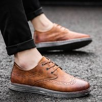 Wholesale korean style office dress - 2018 new European and American style suit business shoes men's Korean version of the Brock men's shoes tide models wild breathable fashion c