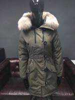 preto para baixo moda parka venda por atacado-2019 inverno moda feminina longo jaqueta de prata raposa gola jaqueta com capuz preto jaqueta com capuz exército verde parkas