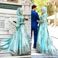 vestidos de novia sabio al por mayor-2018 Arabia Saudita árabe Mint Sage vestidos de baile con mangas largas Una línea de cuentas de cuello alto satinado Apliques Vestidos de noche musulmanes vestidos de novia