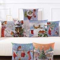 patrones de cojín de navidad gratis al por mayor-Hot Fashion Pretty Christmas View Pattern Funda de almohada Funda de cojín Home Bed Decoración Regalos Envío Gratis