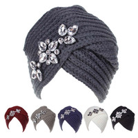 Wholesale diagonal knitting for sale - New Bohemian style wool knit hat Europe and America lady autumn winter point drill diagonal crossover head accessories