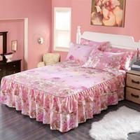 kore tekstilleri toptan satış-Jeefttby Kore Bitki Çiçek Desen Dekorasyon Fit Yatak Etek Yatak Seti 3 adet Büyük Çarşaf Kapak Yastık Ev Tekstili