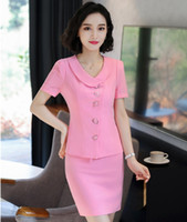Wholesale women two piece formal set - Formal Two Pieces Summer Short Sleeve Blazers With Tops And Skirt For Ladies Fashion Pink Business Work Wear Skirt Sets