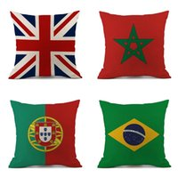 Wholesale series chair resale online - Cotton Linen Square Pillow Case Printed Sofa Decor Cushion Covers Russia World Cup National Flag Series Room Chair Pillowcover wl Y