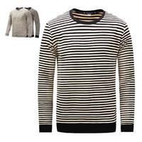 черные хлопковые рубашки china оптовых-Китай отличные поставки черный Crewneck 100% хлопок мужчины Осень Зима повседневная одежда с длинным рукавом толстые полосатые футболки