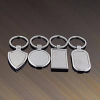 etiquetas de clave de acero inoxidable al por mayor-Etiqueta en blanco de metal llavero de acero inoxidable creativo Llavero coche personalizado Llavero de negocios de publicidad para la promoción