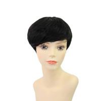 Wholesale black women hair cuts online - Pixie cut human short hair wig Brazilian human bob hair wigsmalaysian lace front wig for black women
