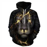 Wholesale lion plush for sale - New Black lion D digital printing thin Hoodies General T shirts Unisex plush Lovers Spring Summer Sweatshirts Baseball jackets Plus size
