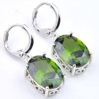 ingrosso orecchini cubici di gemme-10 paia Luckyshine NEW Fashion Orecchini da sposa Ovale Verde Cubic Zirconia Gems Argento Ciondola gli orecchini per le donne Orecchini di nozze