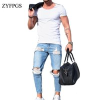 blaue jeansfüße großhandel-ZYFPGS Männer Loch Demin Jeans Elastizität Hip Hop Männer Light Blue Jean-dünne Jeans-männlicher kleiner Fuß Slim Fit Männer 2018