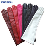 Wholesale Men S Brown Leather Gloves - Women 7 Colors Opera Evening Party Gloves Faux Leather PU Over Elbow Long Glove