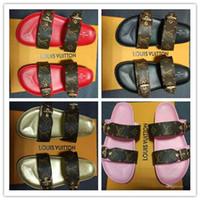 yaz ayakkabıları sipariş et toptan satış-Markalı Kadınlar Baskı Rugan Bom Dia Katır Tuval Slayt Sandal Tasarımcı Lady Baskı Mektup Deri Taban Terlik