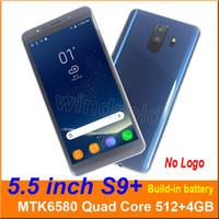 câmera azul do bluetooth do telefone de pilha venda por atacado-5.5 polegada s9 mais quad core mtk6580 android 6.0 telefone inteligente 4 gb dual sim câmera 5MP 480 * 960 3G WCDMA Despertado Gesto Móvel wake livre DHL
