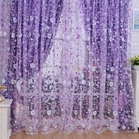 Wholesale Quneed Decorative Curtains Print Floral Voile Door Sheer Window Curtains Room Curtain Divider x200cm Purple Curtains