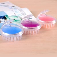 Wholesale scalp brush new resale online - Round Silicone Wash Head Massager Brush Super Soft Massage Scalp Itching Bath Germinal Plastic Meridian Comb For Health Hot Sale rg Z
