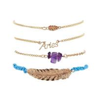Wholesale geometric bracelets for sale - 4pcs set Punk Bracelet Simple Geometric Leaf Knot Metal Chain Bracelet Bohemian Retro Bracelet Jewelry Accessories