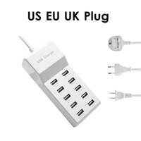 beyaz usb şarj cihazı uk toptan satış-10 Port USB Hızlı Şarj Şarj Güç Adaptörü Istasyonu MAX Çıkış 5 V 10A AB ABD İNGILTERE Tak Beyaz
