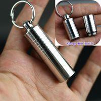 anahtarlık hap kutuları toptan satış-Hap Kutusu Depolama Şişe Paslanmaz Çelik Su Geçirmez Taşınabilir Anahtar Toka Anahtarlık Yüksek Kalite Deformasyon Mini Ot Şişeleri Çoklu Kullanımları DHL