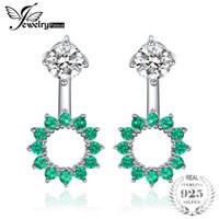 chaqueta esmeralda al por mayor-JewelryPalace Round 1.65ct Creado Emerald Earrings Jacket Genuino 925 joyería fina de plata esterlina partido de la manera de las mujeres