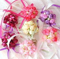 ingrosso bouquet prom-Fiori da polso da sposa Sister Hand Flower Groom Boutonniere best man corsage prom Wedding Flower party cup chair decoration Corsage da polso