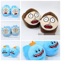 Wholesale slipper stuffed - 5 Styles 28cm Rick and Morty Mr. Meeseeks Morty Smith Rick Sanchez Plush Slippers Winter Indoor Shoes Soft Stuffed Toys CCA8421 60pair