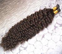 ingrosso capelli ricci vergini reali-I tip extension keratine Pre-bonded Human On Capsule Real Hair Virgin Virgin I Tip Kinky Curly 100s keratin Extension capelli umani ricci