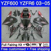 kit de carenado r6 mate al por mayor-Cuerpo para YAMAHA YZF-600 YZF-R6 03 YZF R6 2003 2004 2005 Carrocería Rojo mate llamas 228HM.30 YZF 600 R 6 YZF600 YZFR6 03 04 05 Kit Carenados