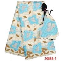 ingrosso tessuto in pizzo diamante-2018 Swiss Voile Fabric in svizzera con diamanti Tulle Tessuto africano in pizzo Tessuto in cotone per le donne Party Dress AMY2088B-1