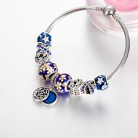 Wholesale vintage enamel bangle bracelets - High quality Silver Blue Enamel Star and Moon Vintage Bangle Bracelet DIY Jewelry For Women Beads Bracelets