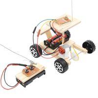 coche de juguete de madera diy al por mayor-DIY Control Remoto Inalámbrico Modelo de Carreras Kit de Juguetes de Madera Juego de Coche Montado Juguete Educativo para Niños
