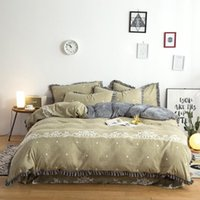 Wholesale luxury silk jacquard bedding sets online - Gold silver coffee jacquard luxury bedding set queen king size stain bed set cotton silk lace duvet cover sets bedsheet home textile