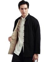 traditioneller chinesischer kragen großhandel-Shanghai Geschichte zwei Seiten reversible chinesische traditionelle zweiseitige tragen Mandarin Kragen Jacke Leinen chinesischen Kung Fu Shirt Männer