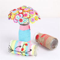 Wholesale toy flower bouquet - Mother Day Gift Children Developmental Toys DIY Button Flower Bouquet Learning Education Material Package Child Intelligence Toy 6 8hm W