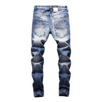 marcas famosas designer jeans venda por atacado-2018 Original Balplein Designer de jeans homens Famosa Marca rasgado jeans Denim Algodão Dos Homens Calça Casual impresso 982-A
