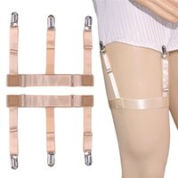Wholesale garter straps wholesale - Adjustable Men Shirt Stays Garters Elastic Straps Leggings Legs Girdle Anti-off Clip Anti-slip Harness Crease-Resistance Garter
