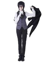 kahya kostümleri toptan satış-Siyah Butler Kuroshitsuji Sebastian Cosplay kostüm tailcoat