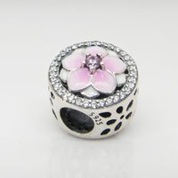 Wholesale pandora pink flower charms resale online - Authentic Sterling Silver Pink enamel magnolia flowers Charms Original box for Pandora Beads Charms Bracelet jewelry making