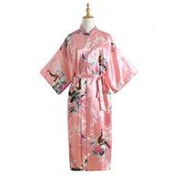 vestidos de noche de las señoras al por mayor-Sexy Novia Wedding Nightwear Pink Lady Kimono Albornoz lencería íntima camisón vestido Satén ropa de noche pavo real ropa para el hogar
