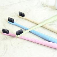 cepillo de dientes al por menor al por mayor-Trigo Paja Carbón Suave Cepillo de dientes Venta al por menor Caja Lleno Adulto Hogar Degradación ambiental del cepillo Mango Cepillos de dientes 3006072